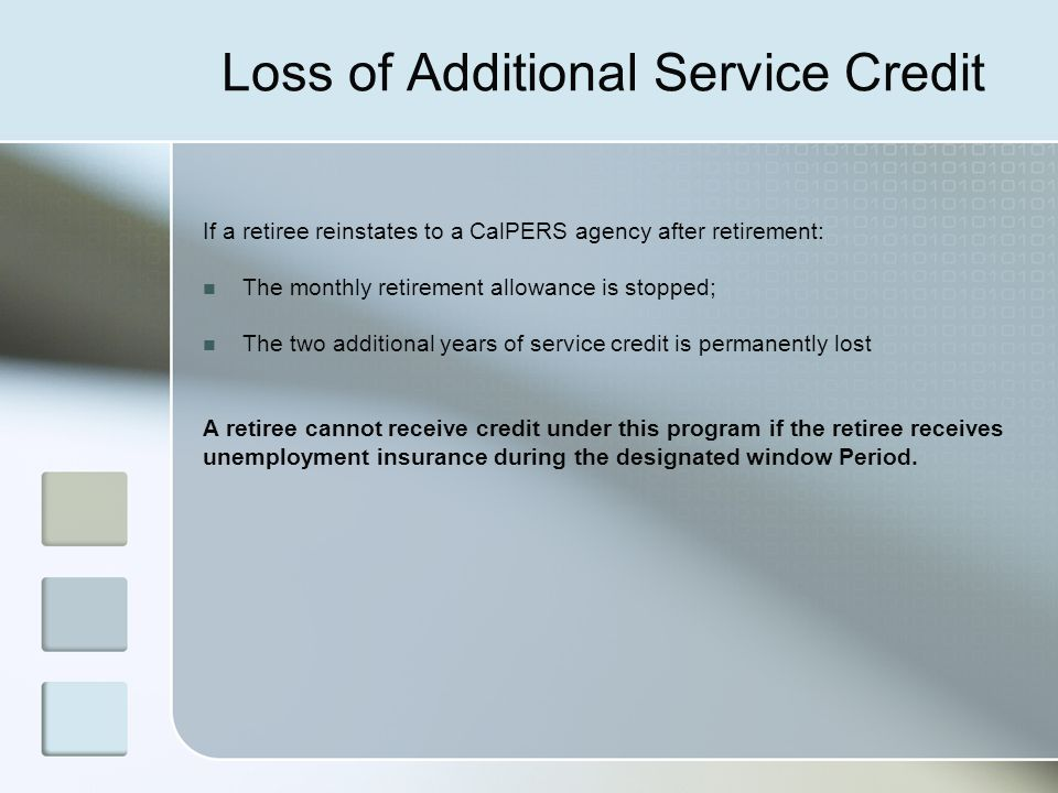 Loss of Additional Service Credit