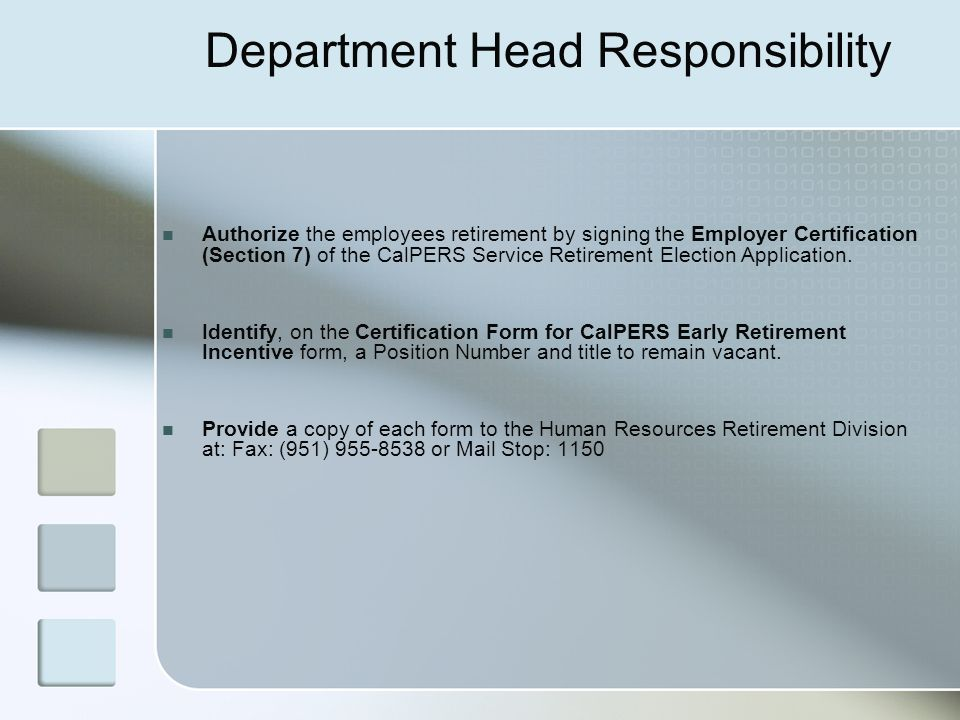 Department Head Responsibility