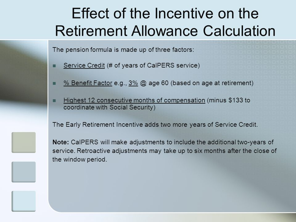Effect of the Incentive on the Retirement Allowance Calculation
