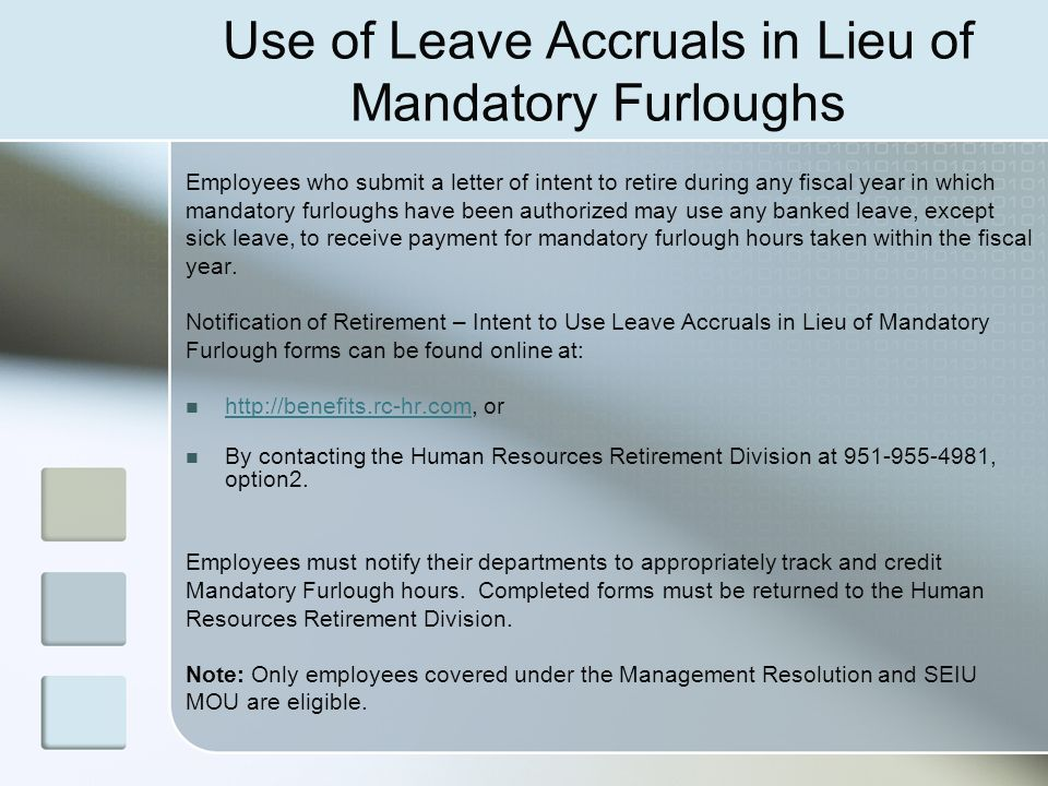 Use of Leave Accruals in Lieu of Mandatory Furloughs