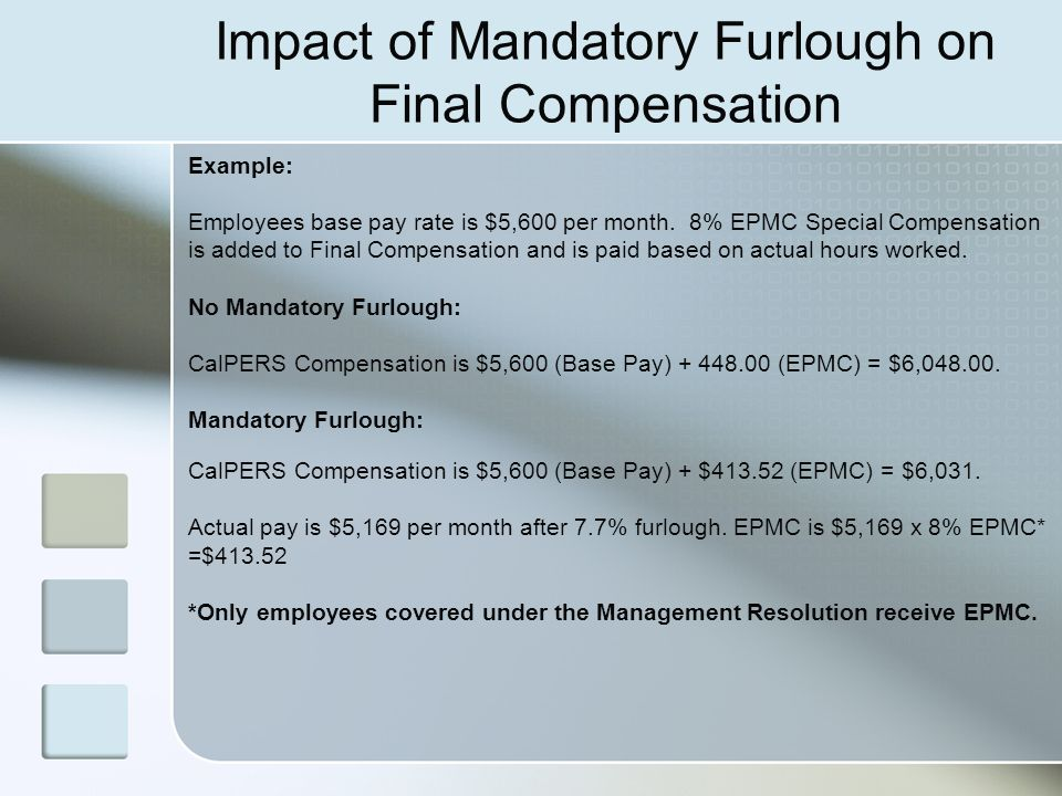 Impact of Mandatory Furlough on Final Compensation