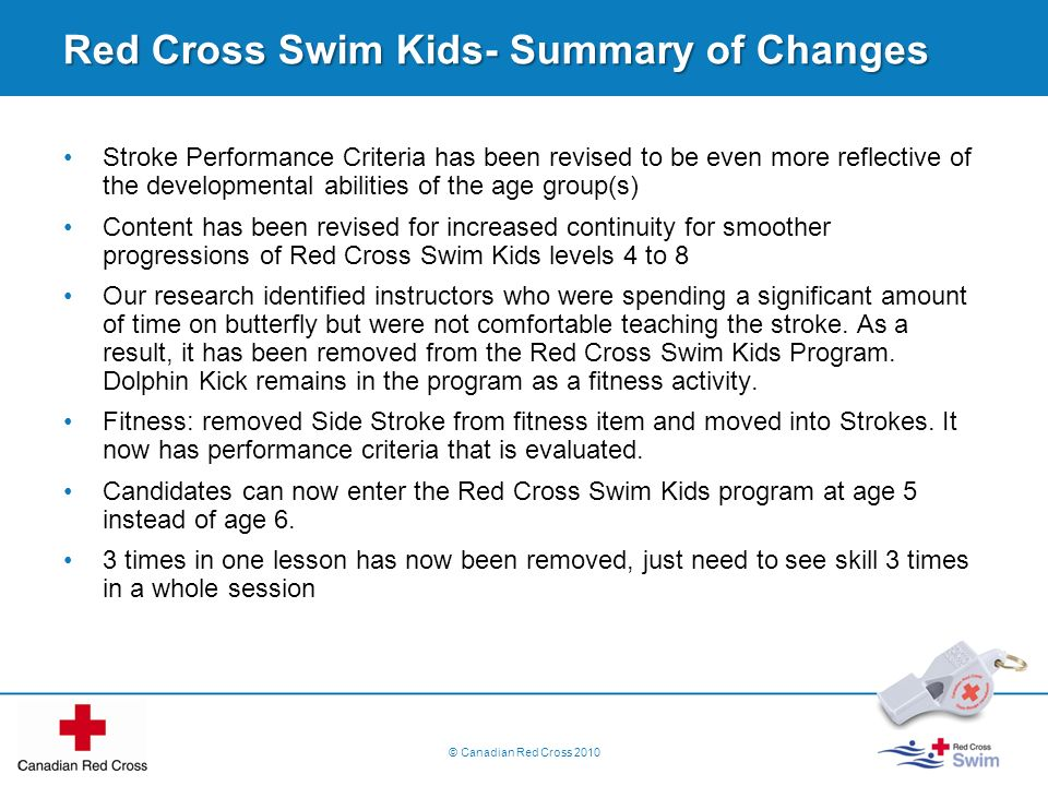 Red Cross Swim Kids- Summary of Changes