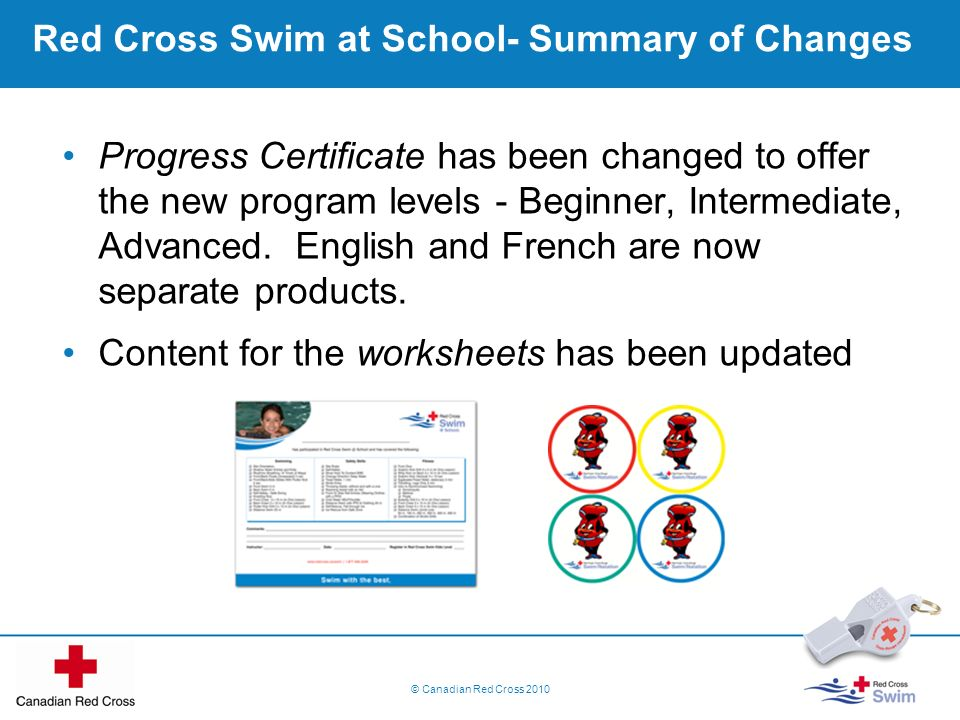 Red Cross Swim at School- Summary of Changes