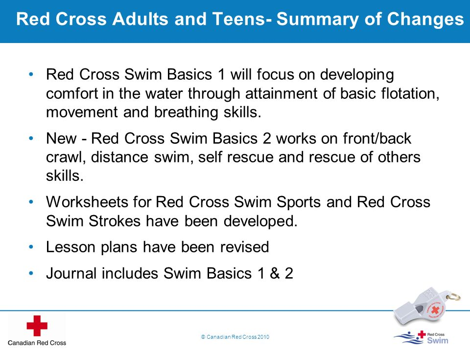 Red Cross Adults and Teens- Summary of Changes