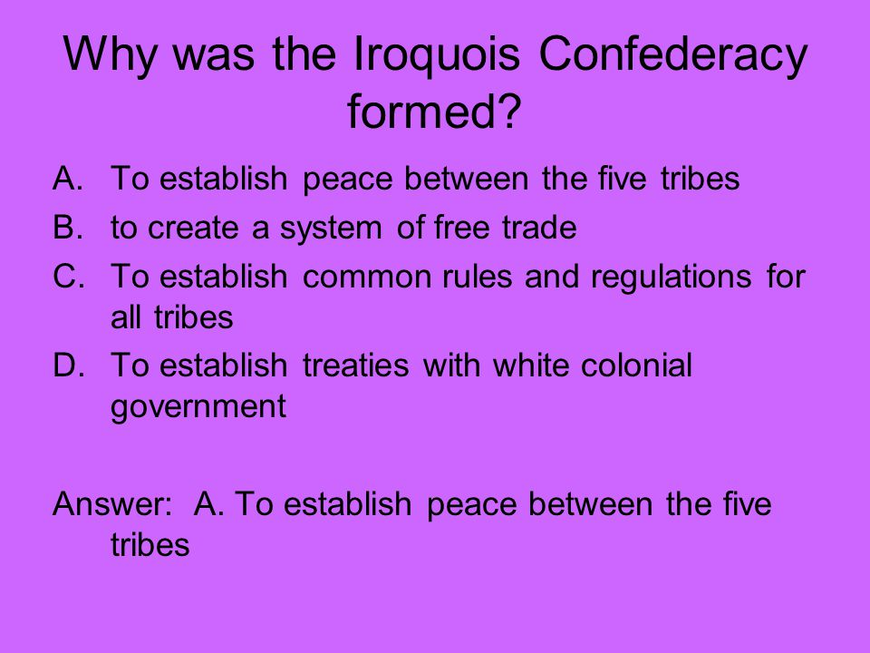 Why was the Iroquois Confederacy formed