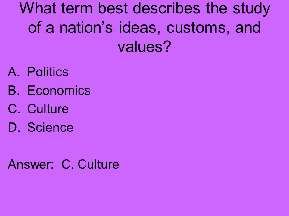 What term best describes the study of a nation's ideas, customs, and values