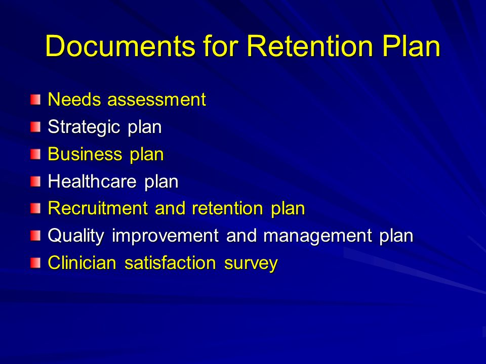 Documents for Retention Plan