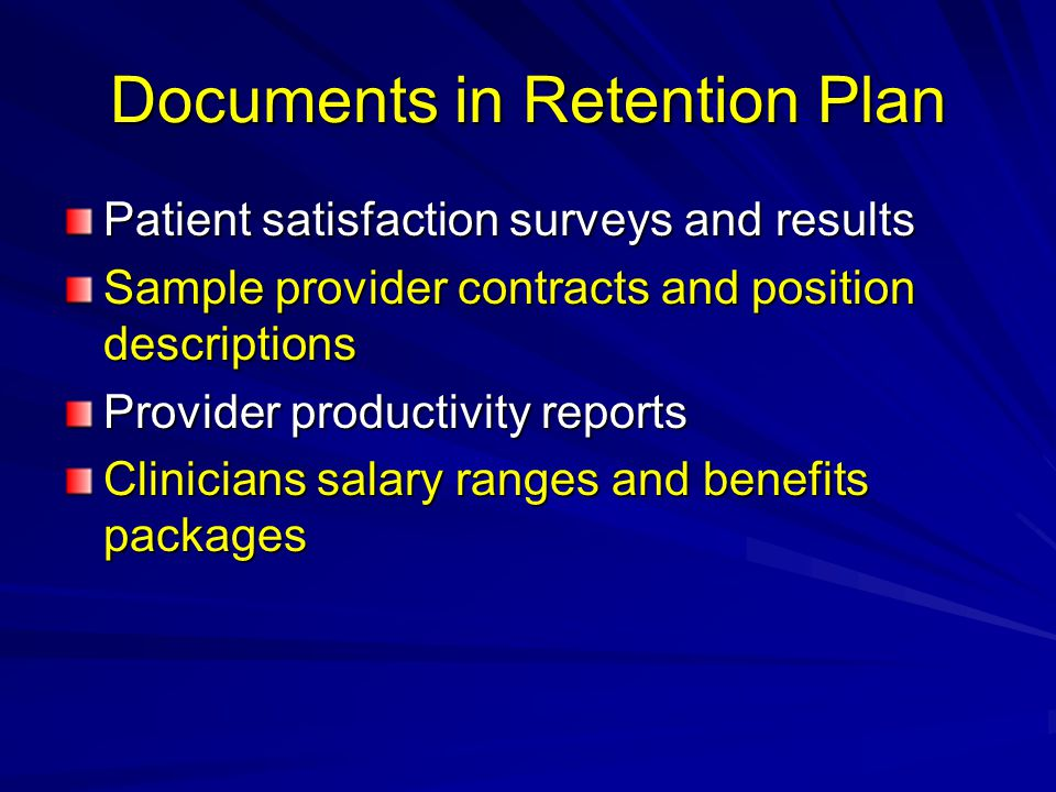 Documents in Retention Plan