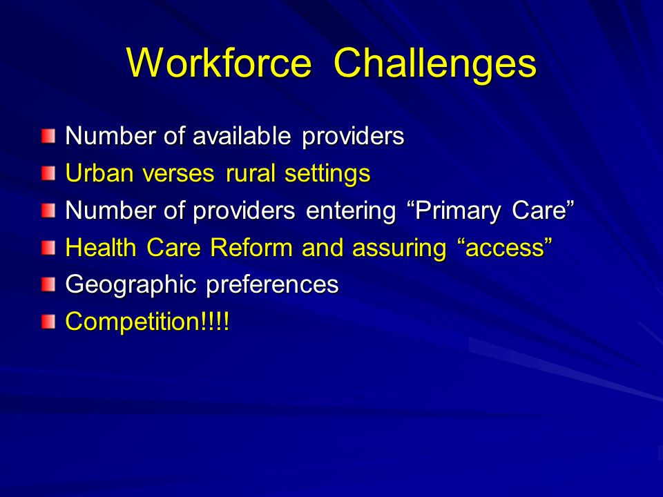 Workforce Challenges Number of available providers