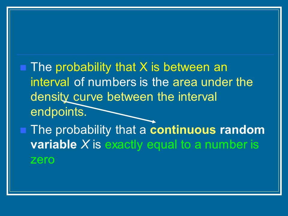 The probability that X is between an interval of numbers is the area under the density curve between the interval endpoints.