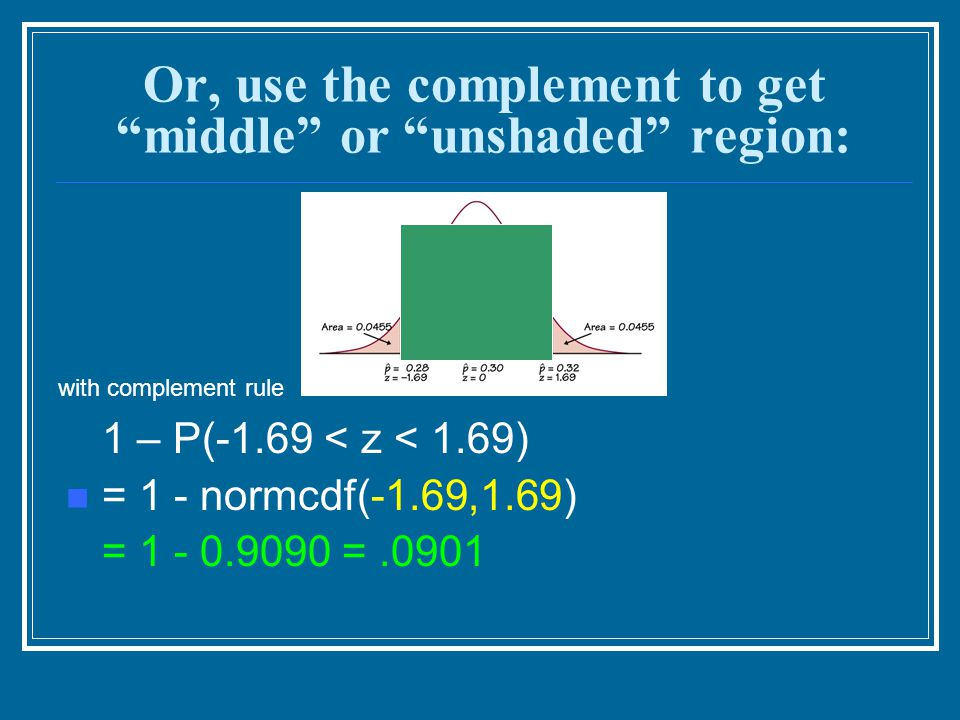 Or, use the complement to get middle or unshaded region: