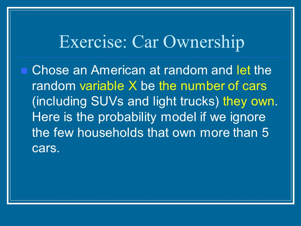 Exercise: Car Ownership