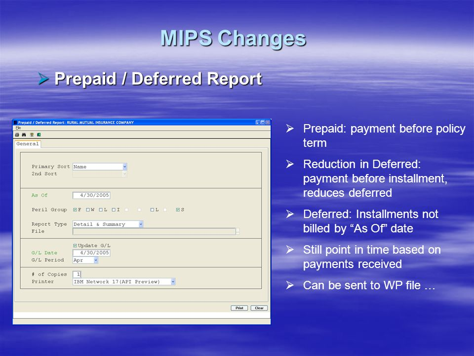 MIPS Changes Prepaid / Deferred Report