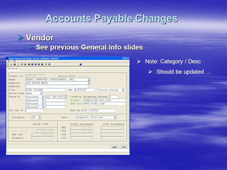 Accounts Payable Changes