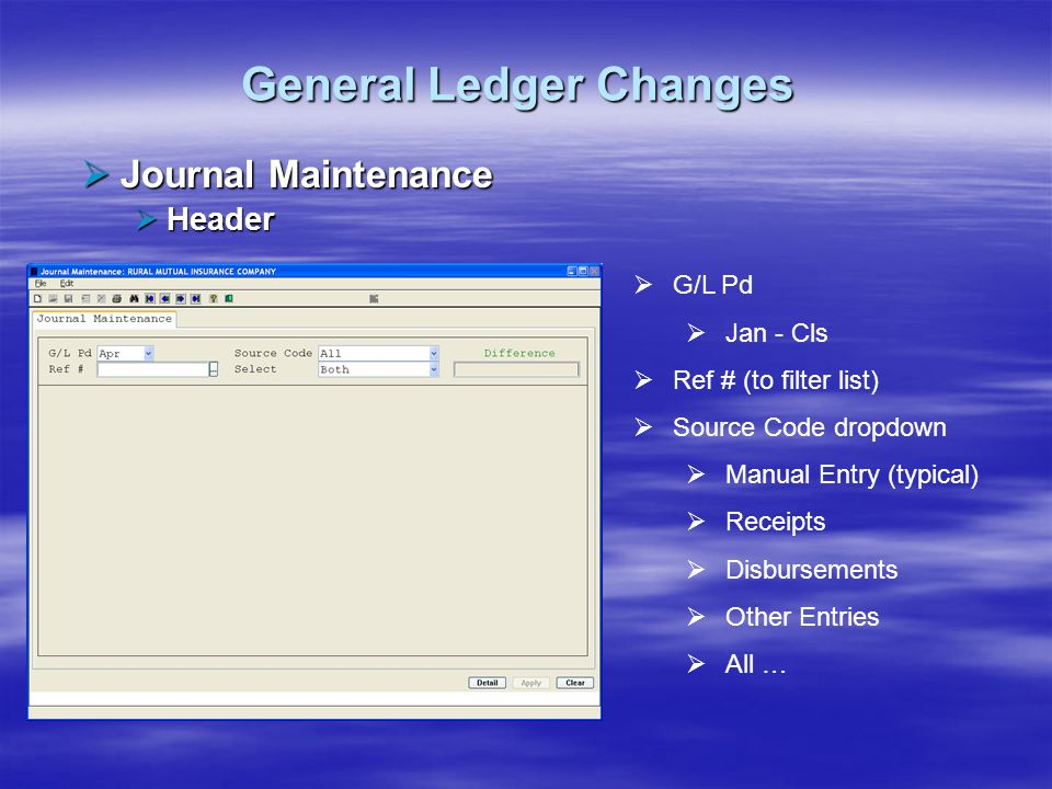 General Ledger Changes