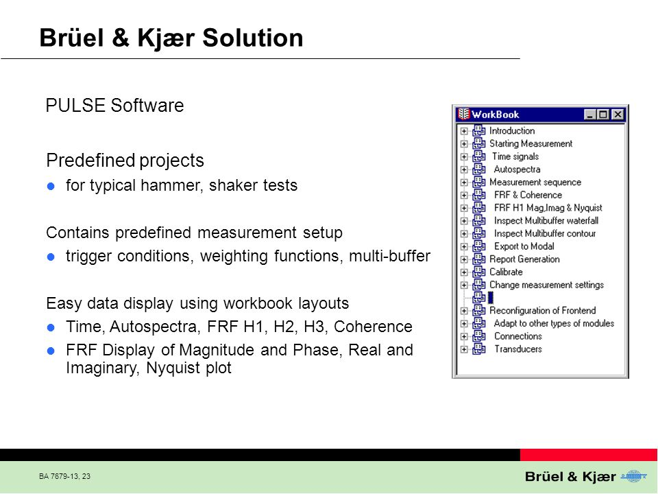 Brüel & Kjær Solution PULSE Software Predefined projects