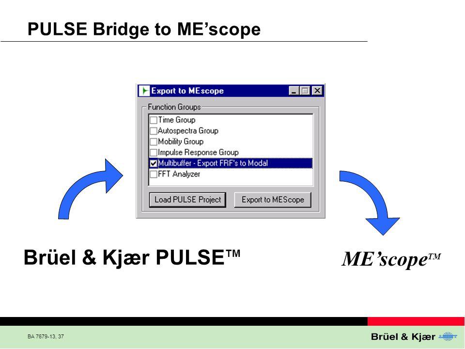 Brüel & Kjær PULSETM ME'scopeTM PULSE Bridge to ME'scope