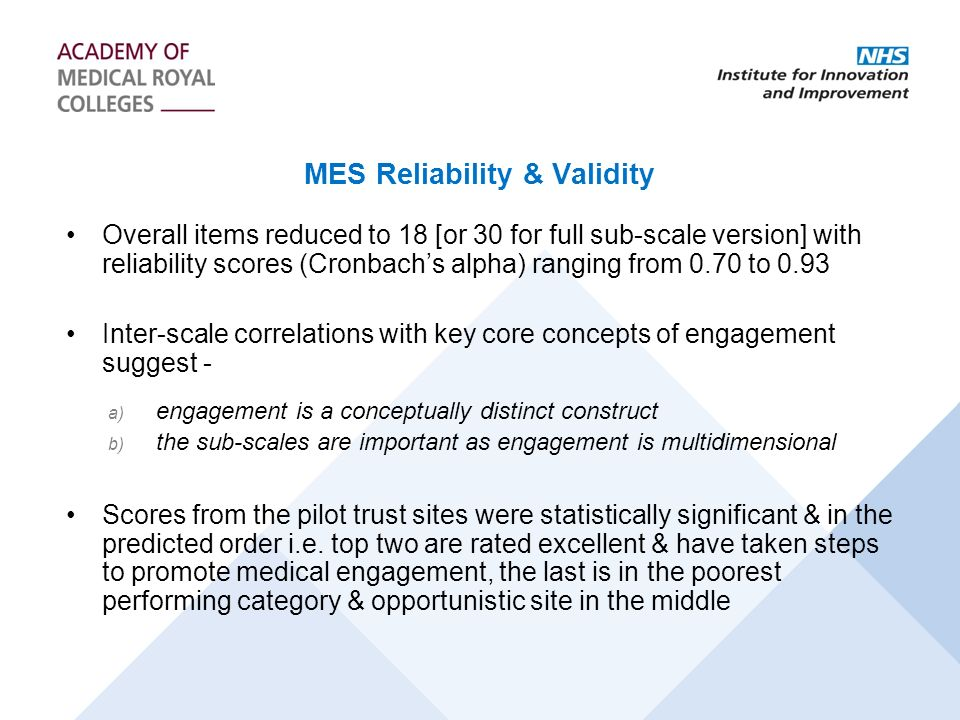 MES Reliability & Validity