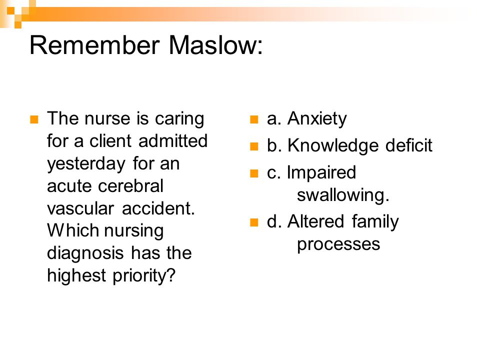 Remember Maslow: