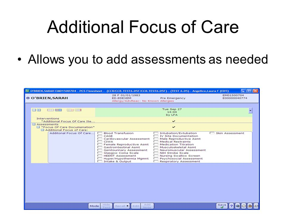 Additional Focus of Care