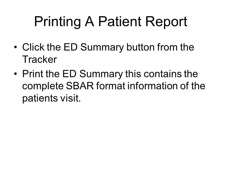 Printing A Patient Report