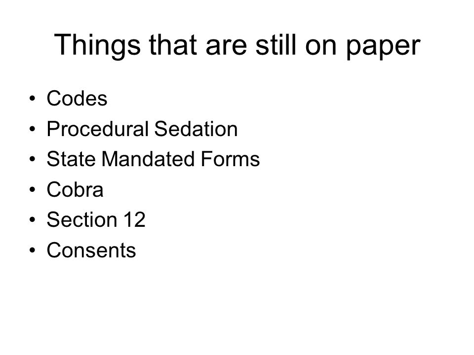 Things that are still on paper