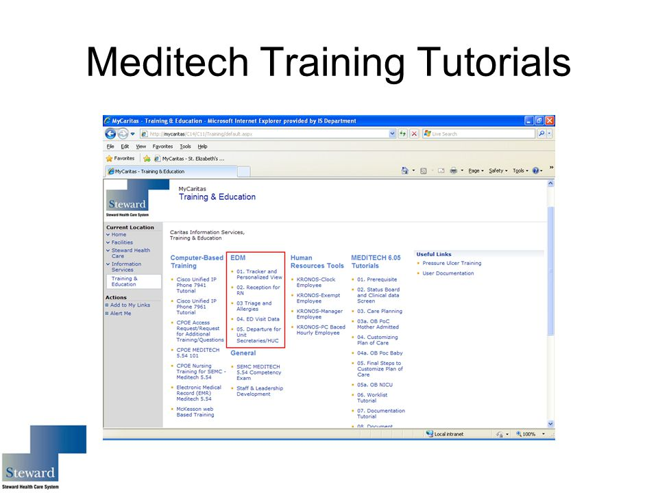 Meditech Training Tutorials