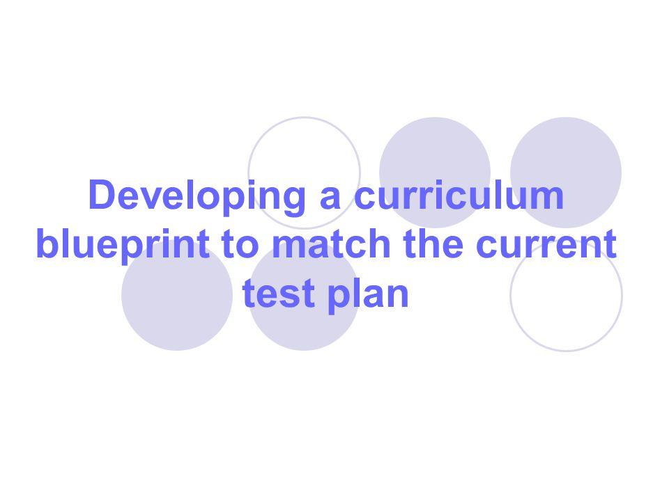 Developing a curriculum blueprint to match the current test plan