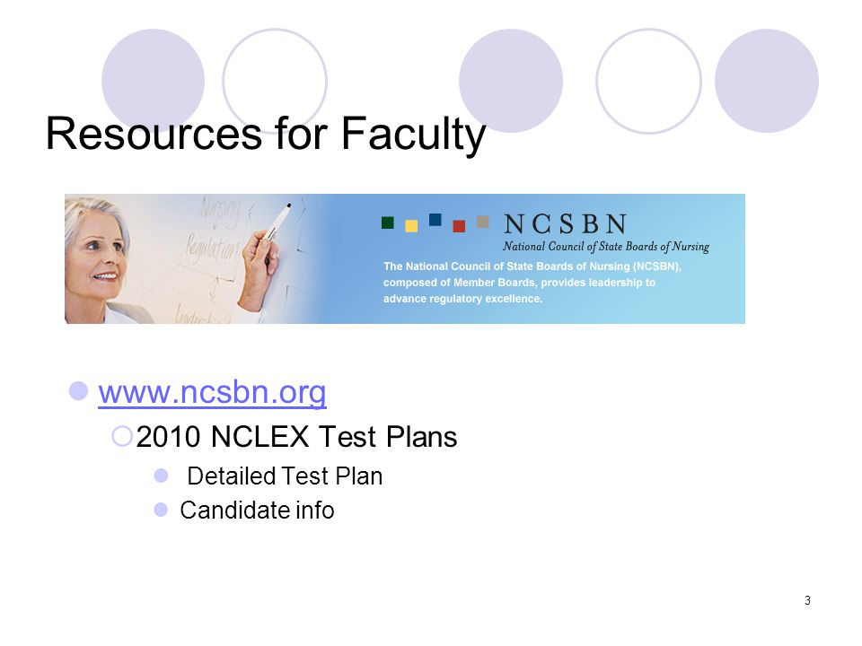 Resources for Faculty www.ncsbn.org 2010 NCLEX Test Plans