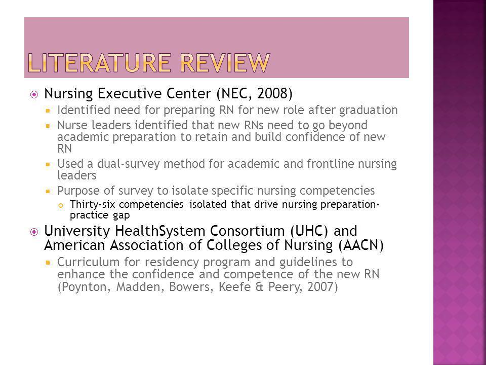 Literature Review Nursing Executive Center (NEC, 2008)
