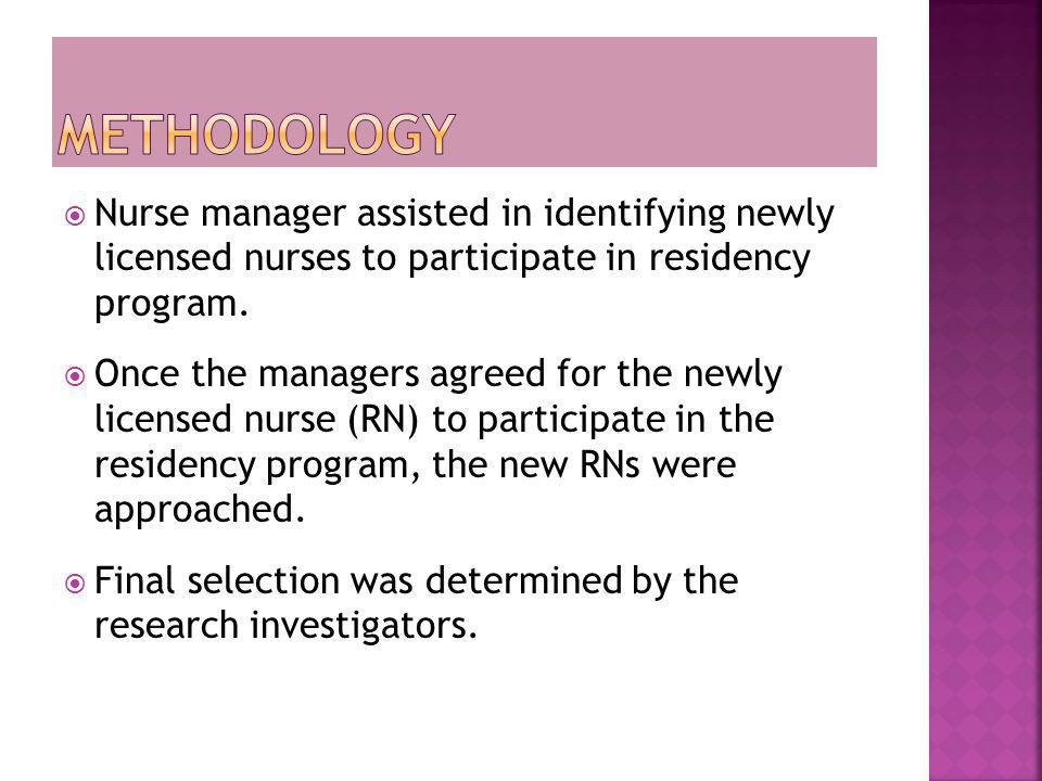 Methodology Nurse manager assisted in identifying newly licensed nurses to participate in residency program.