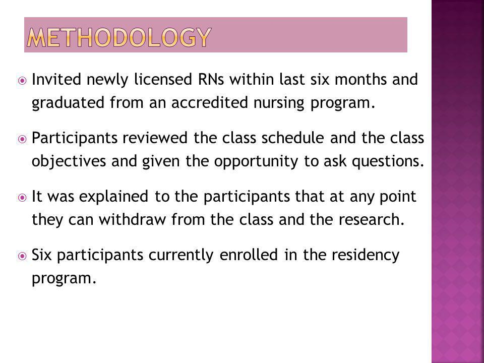 Methodology Invited newly licensed RNs within last six months and graduated from an accredited nursing program.