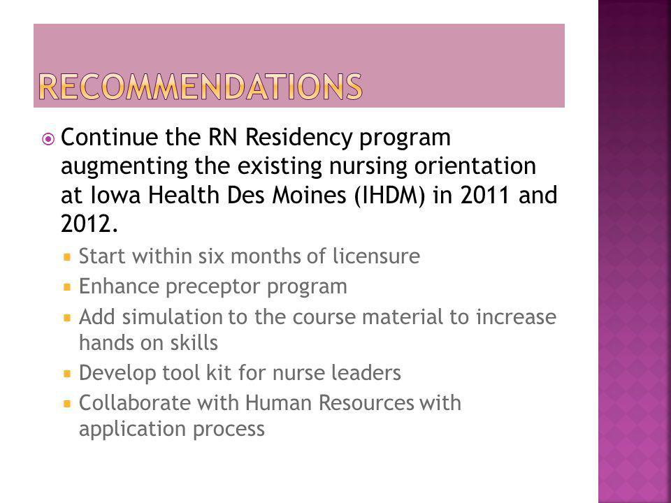 Recommendations Continue the RN Residency program augmenting the existing nursing orientation at Iowa Health Des Moines (IHDM) in 2011 and 2012.