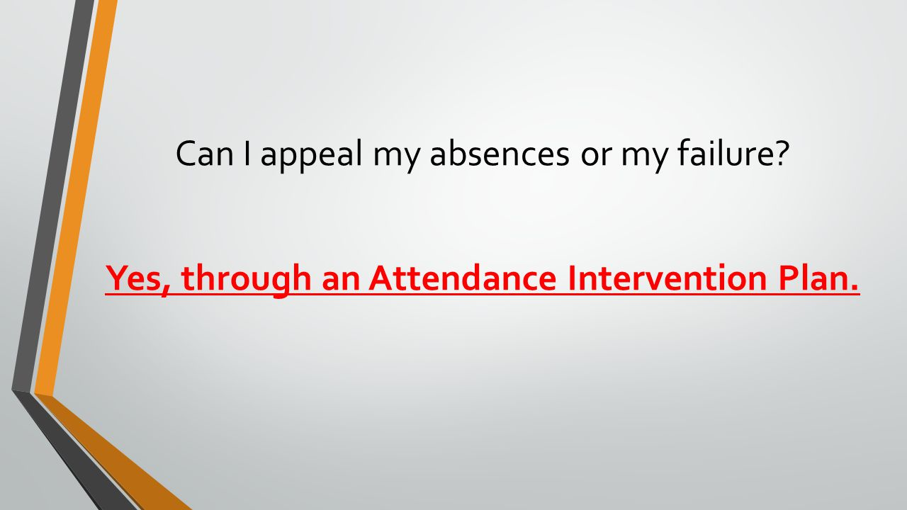 Can I appeal my absences or my failure