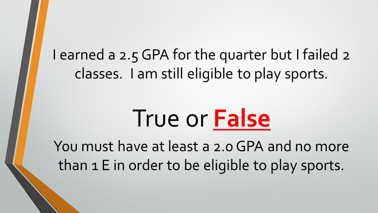 I earned a 2. 5 GPA for the quarter but I failed 2 classes