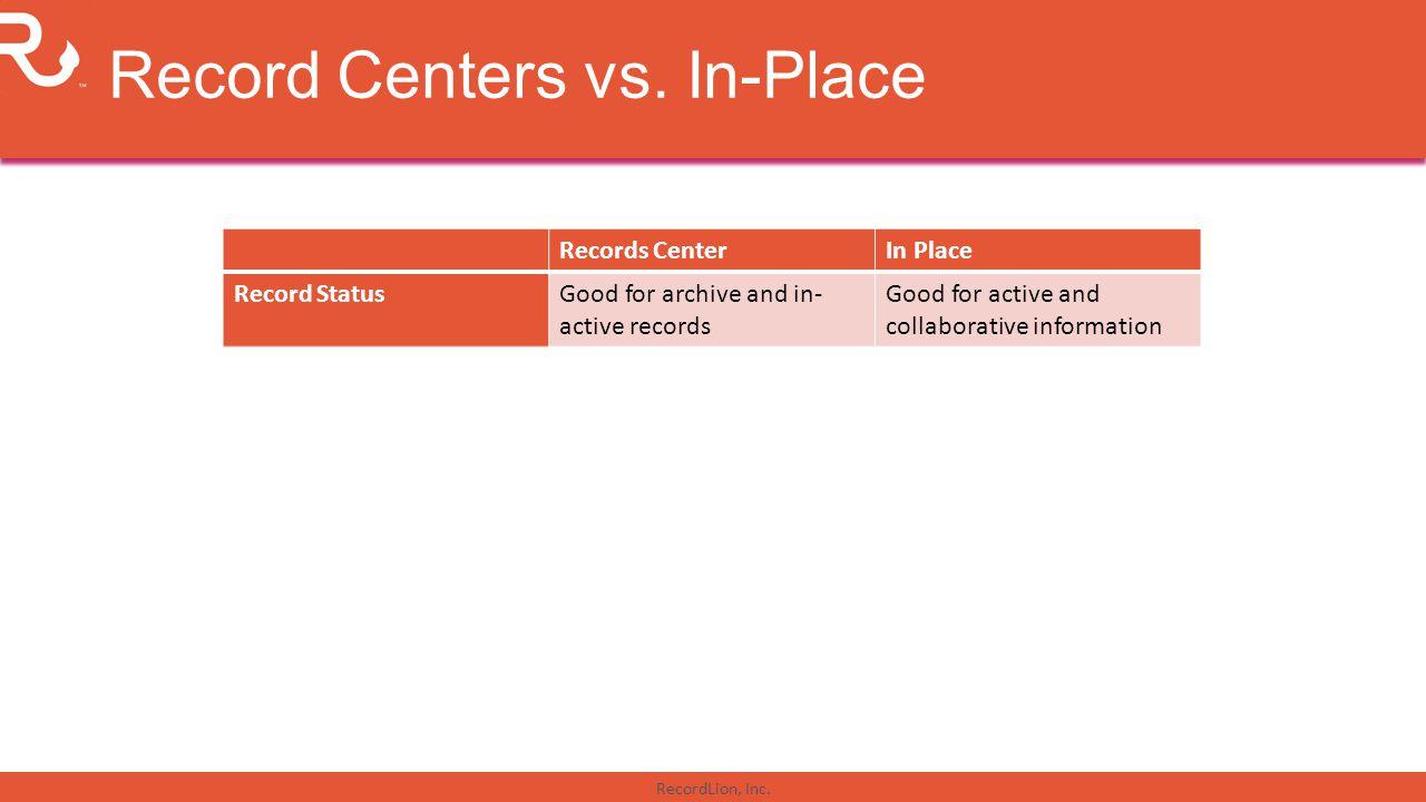 Record Centers vs. In-Place