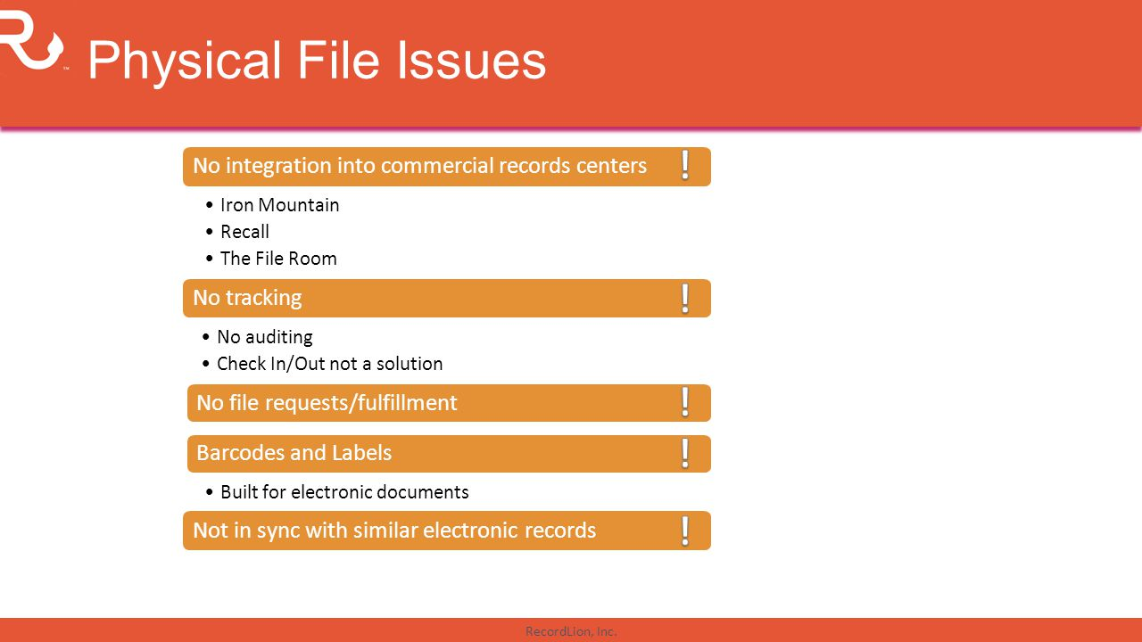 Physical File Issues ! No integration into commercial records centers. Iron Mountain. Recall. The File Room.