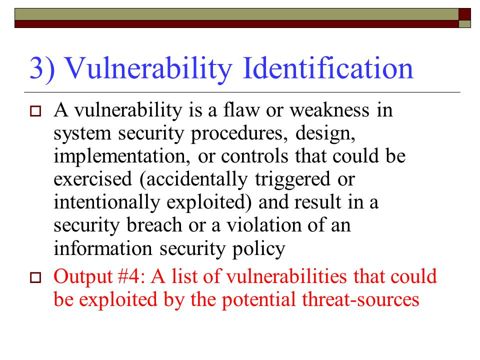 3) Vulnerability Identification