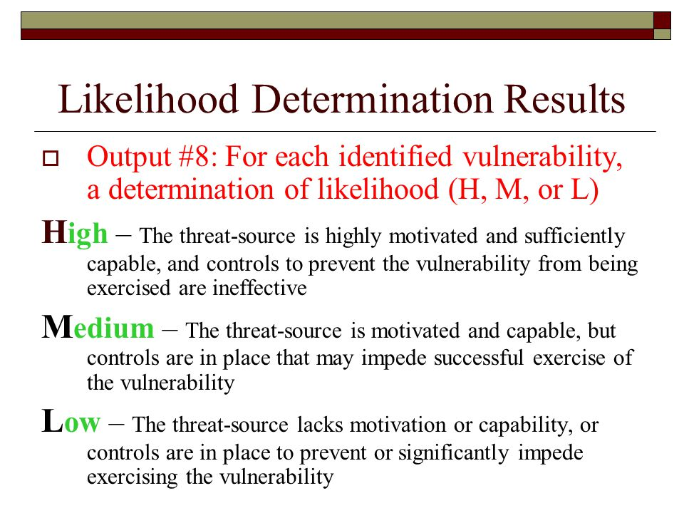 Likelihood Determination Results