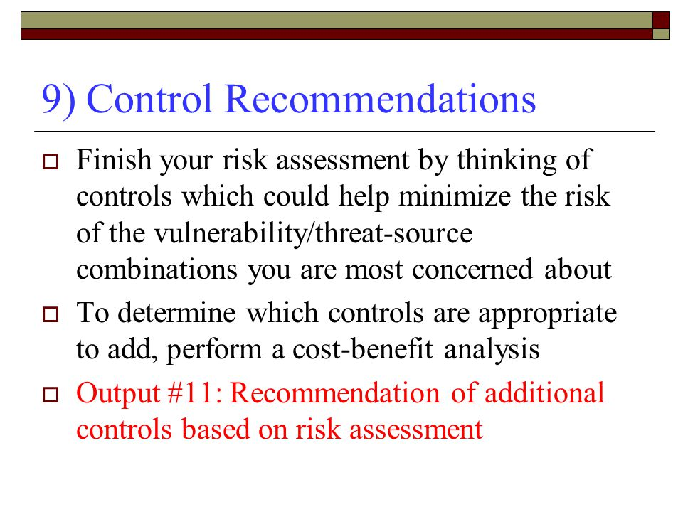 9) Control Recommendations