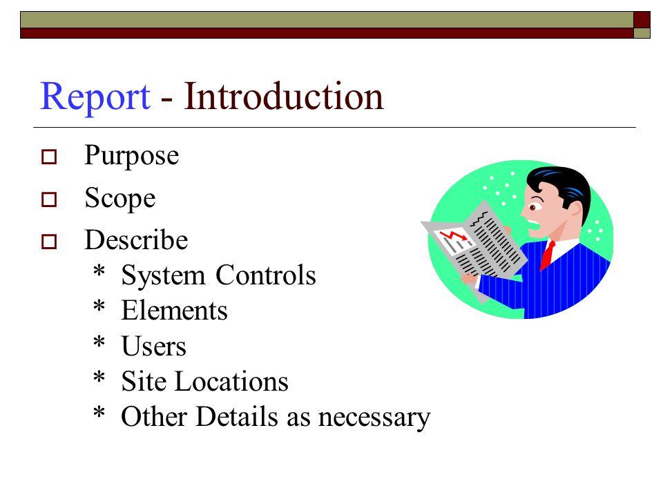 Report - Introduction Purpose Scope