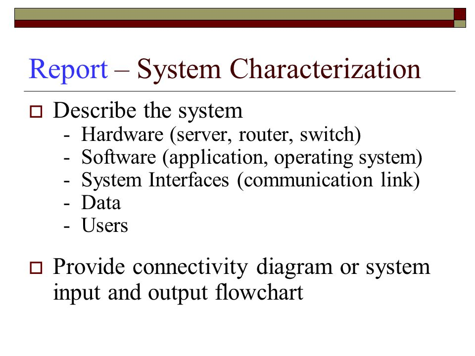 Report – System Characterization