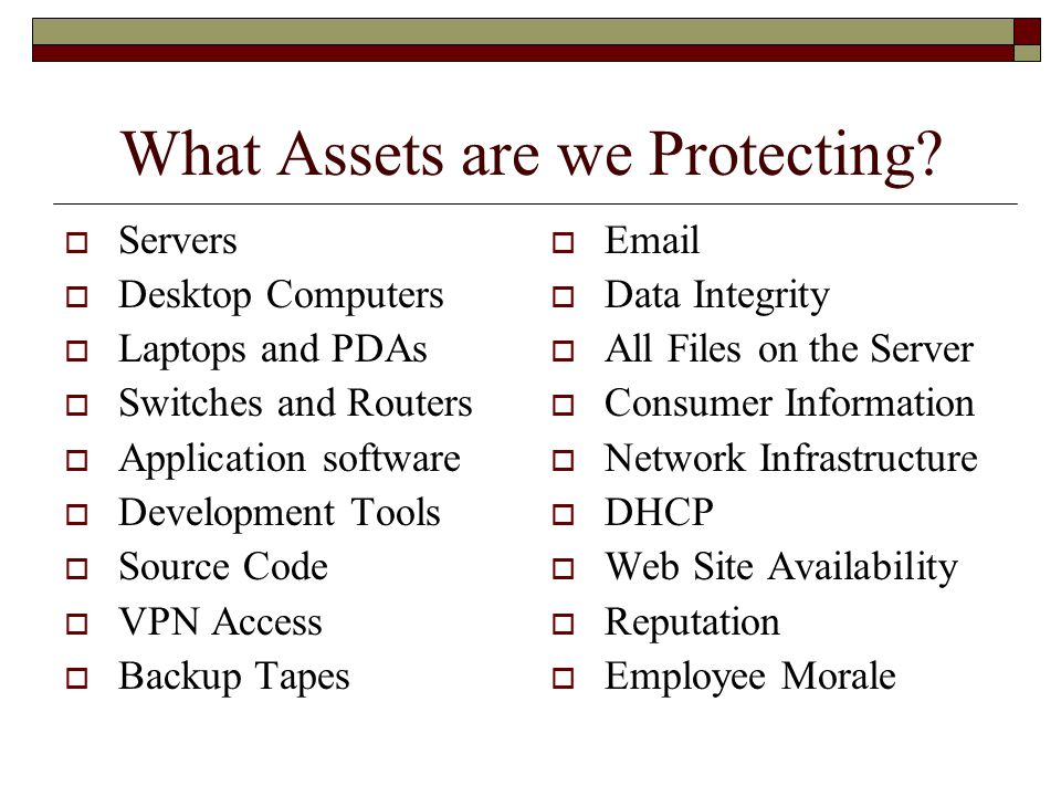 What Assets are we Protecting