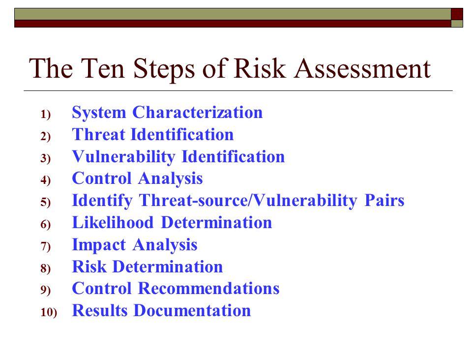 The Ten Steps of Risk Assessment
