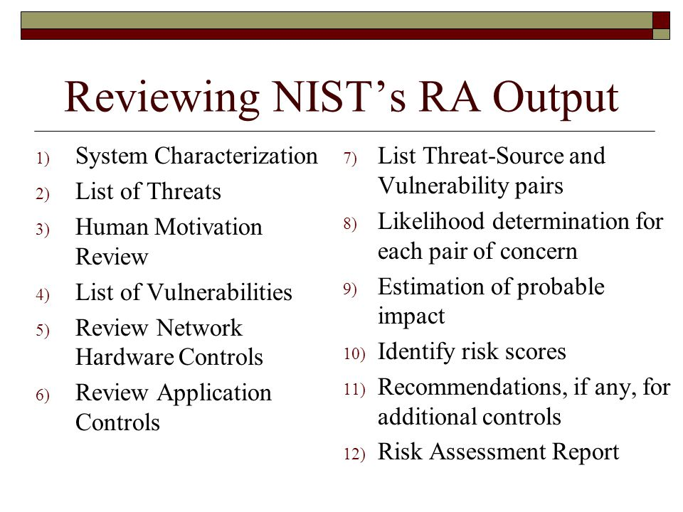 Reviewing NIST's RA Output