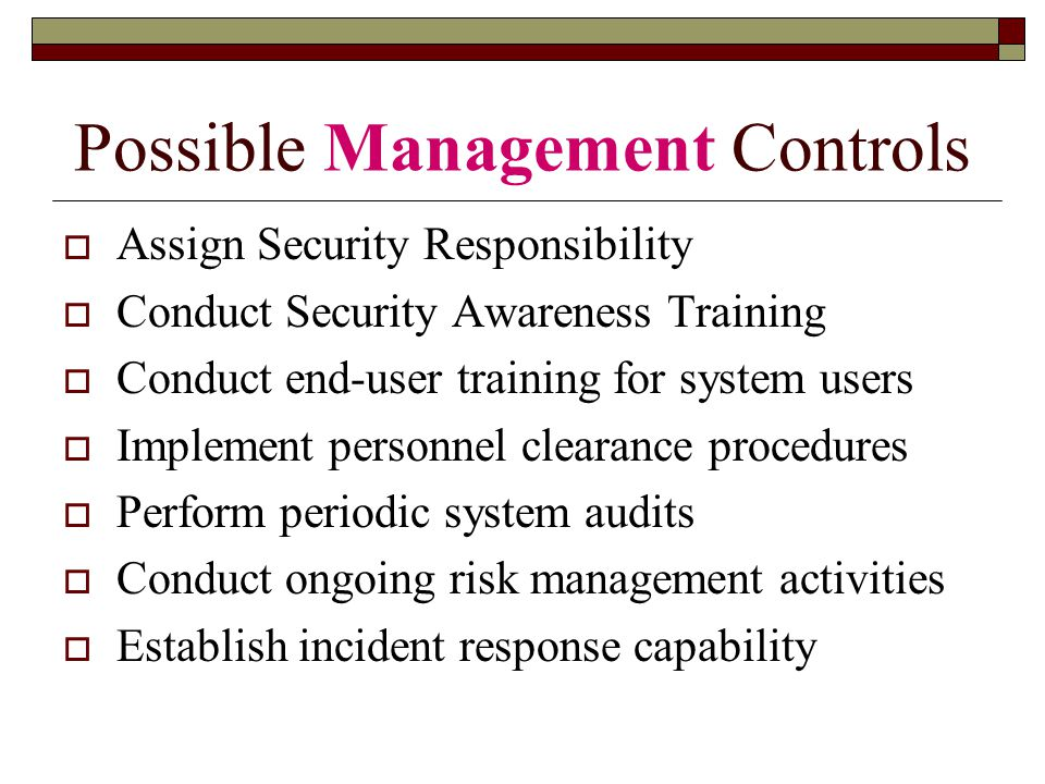 Possible Management Controls