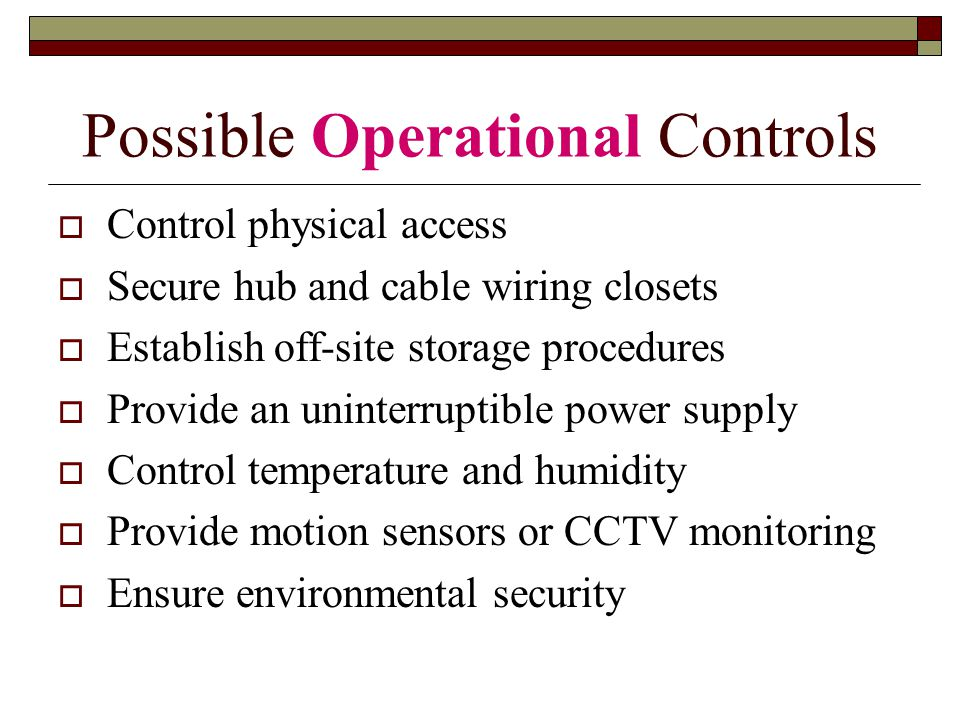 Possible Operational Controls