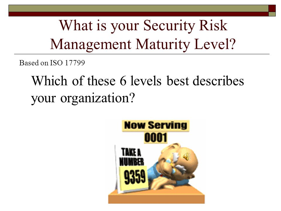 What is your Security Risk Management Maturity Level