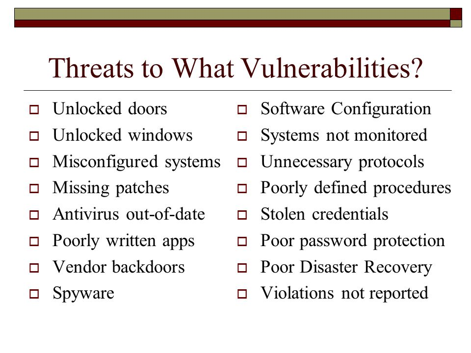 Threats to What Vulnerabilities