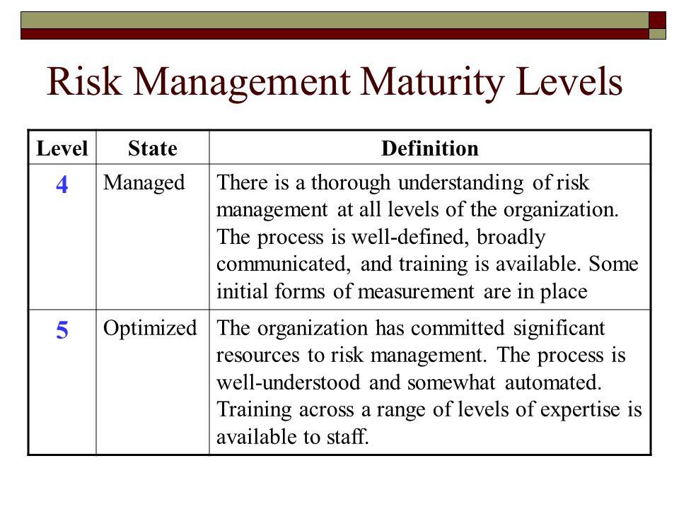 Risk Management Maturity Levels